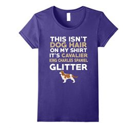 Womens Not Hair Cavalier King Charles Spaniel Glitter T-Shirt Large Purple