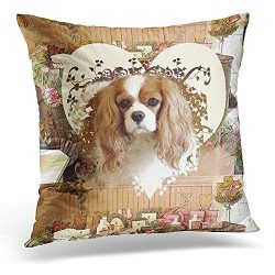 Throw Pillow Cover Cavalier King Charles Spaniel Decorative Pillow Case Home Decor Square 18×18 Inches Pillowcase