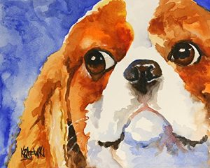 Cavalier King Charles Spaniel Dog Fine Art Print on 100% Cotton Watercolor Paper