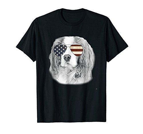 Cavalier King Charles Spaniel Dog T-shirt with USA flag