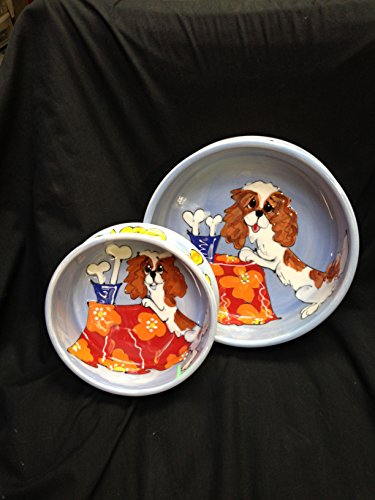 Cavalier King Charles Spaniel Two Piece 8″ Ceramic Dog Bowl Set for Food and Water