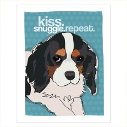 Tri Color Cavalier King Charles Spaniel Art – Kiss Snuggle Repeat – Pop Doggie Dog Art Poster Sign Prints with Funny Sayings – 5 by 7 inches