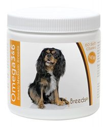 Healthy Breeds Dog Omega 3 & 6 Fish Oil Soft Chews for Cavalier King Charles Spaniel – Small Dog Formula – Over 50 Breeds –Supplement with Anchovy, Krill Oil – 60 Count – HP Skin and Coat Support
