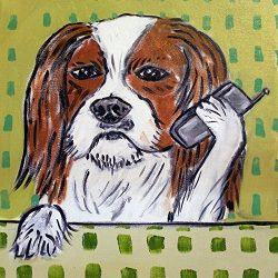 Cavalier King Charles Spaniel with a Cell Phone dog art tile coaster gift