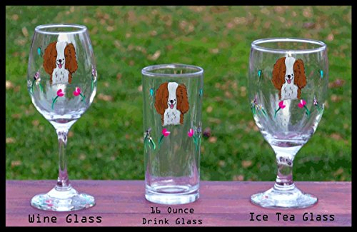Cavalier King Charles Spaniel handpainted glasses – set of 2 – Iced Tea, Wine, Barware – Dishwasher safeshipping pro rated on multiples