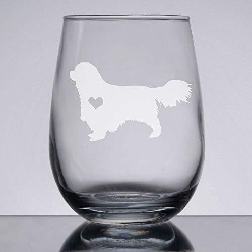 Cavalier King Charles Stemless Wine Glass Engraved Dog Glass Gift for Dog Owner
