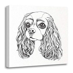 Emvency Canvas Wall Art 20″x20″ Print Painting Living Room Wall Decor Adorable Portrait The Cavalier King Charles Spaniel Black White Animal Breed Home Decoration Framed Waterproof Artwork