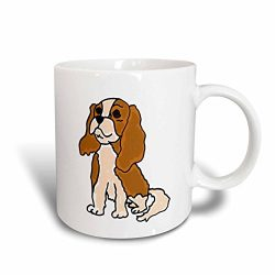 3dRose mug_200086_2 Cute Cavalier King Charles Spaniel Puppy Dog Art – Ceramic Mug, 15-ounce