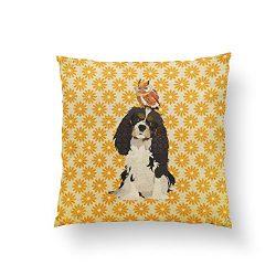 DreamsBig Cavalier King Charles Spaniel & Owl Pillow Home Decorative Throw Pillow Cushion Cases Cover Pillowcase One-Side 18×18