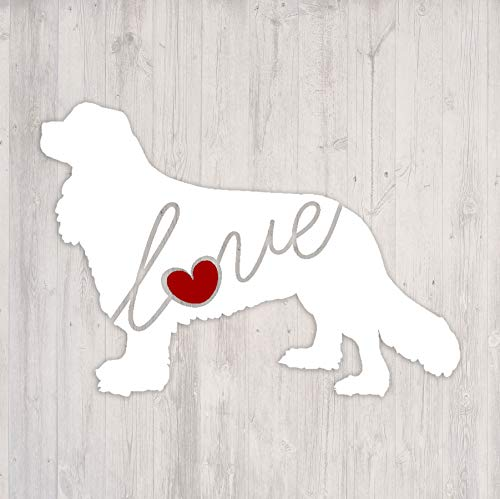 Cavalier King Charles Spaniel Love – Car Window Vinyl Decal Sticker (Script Font)