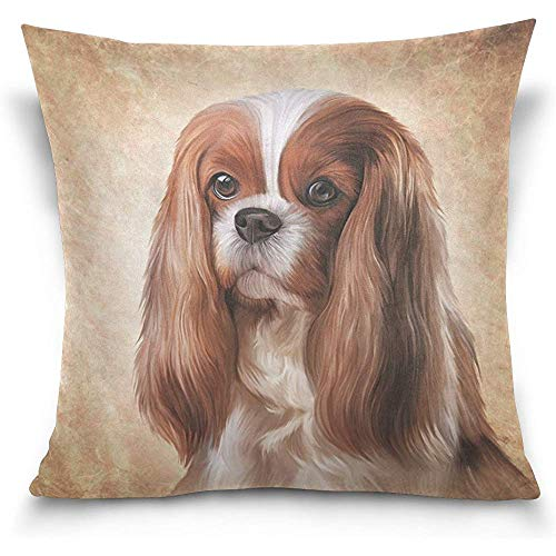 Cavalier King Charles Spaniel Dog Square Throw Pillow Case Cotton Velvet Cushion Cover 18×18 inch