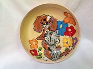 King Charles Cavalier 8″ Ceramic Dog Bowl for Food or Water. Personalized at no Charge. Signed by Artist, Debby Carman.