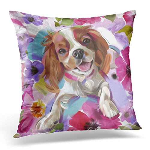 TORASS Throw Pillow Cover Floral King Sunshine Blenheim Cavalier Dog White Charles Decorative Pillow Case Home Decor Square 16×16 Inches Pillowcase