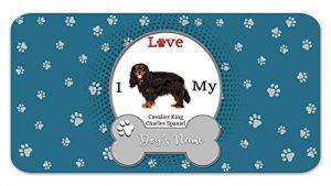 Bleu Reign Personalized Custom Name I Love My Dog Cavalier King Charles Spaniel 12″x18″ Ultra Absorbent Pet Feeding Mat
