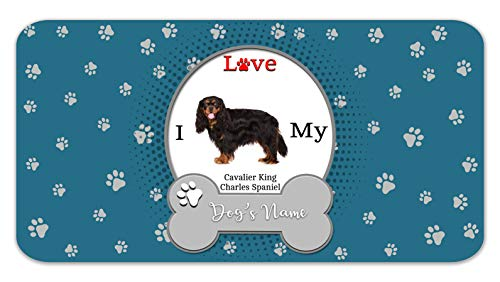 Bleu Reign Personalized Custom Name I Love My Dog Cavalier King Charles Spaniel 12″x18″ Ultra Absorbent Pet Feeding Mat
