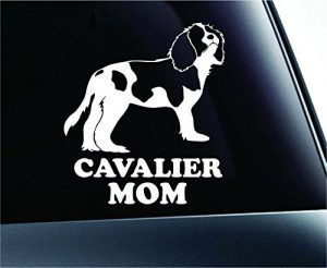 Cavalier King Charles Spaniel Mom Dog Symbol Decal Paw Print Dog Puppy Pet Family Breed Love Car Truck Sticker Window (White), Decal Sticker Vinyl Car Home Truck Window Laptop