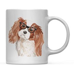 Andaz Press Funny Preppy Dog Art 11oz. Coffee Mug Gift, Cavalier King Charles Spaniel in Black Glasses, 1-Pack, Christmas Birthday Present Ideas for Him Her Dog Lover