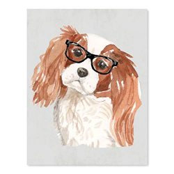 Andaz Press Dog Wall Art Print Poster, 8.5×11-inch, Cavalier King Charles Spaniel in Black Glasses, 1-Pack, Christmas Birthday Gift, Unframed