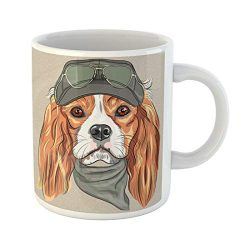 Semtomn Funny Coffee Mug Vector Hipster Red Dog Cavalier King Charles Spaniel Breed in 11 Oz Ceramic Coffee Mugs Tea Cup Best Gift Or Souvenir