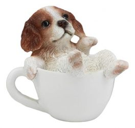 Ebros Mini Adorable Cavalier King Charles Spaniel Dog Teacup Statue 2.5″ Tall Pet Pal Dog Breed Collectible Decor Figurine with Glass Eyes