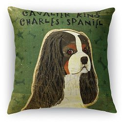 Cavalier King Charles tri-Color 16×16 inch Square Pillow Double Sided