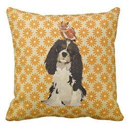 Cavalier King Charles Spaniel Owl Pillow Case 18 X 18 Inches/45 x 45 cm