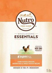 Nutro Wholesome Essentials Puppy Dry Dog Food Farm-Raised Chicken, Brown Rice & Sweet Potato Recipe, 15 Lb. Bag