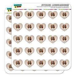 Cavalier King Charles Spaniel Dog Breed 1″ Heart Shaped Planner Calendar Scrapbook Craft Opaque Stickers