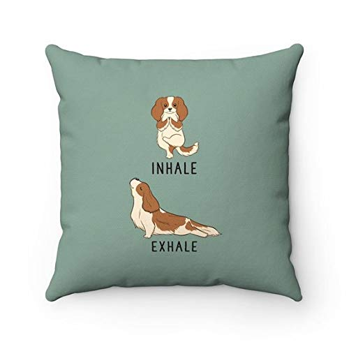Wini2342ckey Inhale Exhale Cavalier King Charles Spaniel Pillow, Dog Yoga Pillow Covers, Pillow Cases, Dog Lover Cushion, Housewarming Gift, Home Decor
