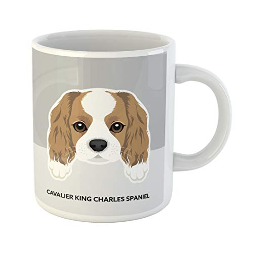 Semtomn Funny Coffee Mug Cute Portrait of Cavalier King Charles Spaniel Puppy Dog 11 Oz Ceramic Coffee Mugs Tea Cup Best Gift Or Souvenir
