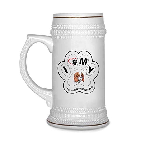 Custom Beer Mug Paw My Cavalier King Charles Spaniel Dog Ceramic Drinking Glasses Beer Gifts White 18 OZ Design Only