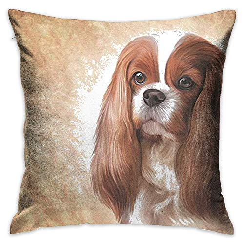 Throw Pillow Cover Cavalier King Charles Spaniel Dog Decorative Pillow Case Decor Square 18×18 Inch Cushion Pillowcase