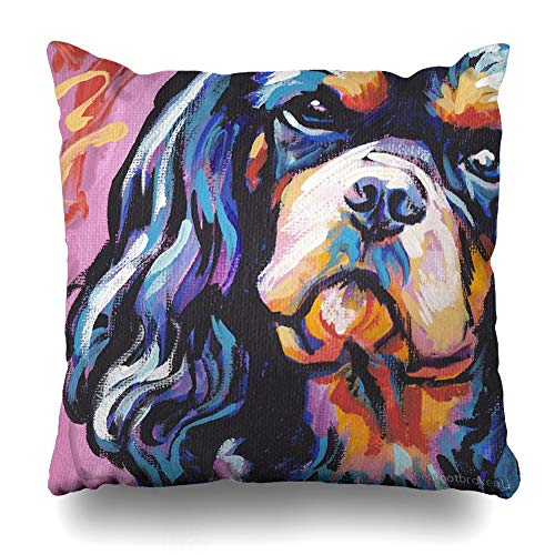 Ahawoso Throw Pillow Cover Square 18×18 Inches Cavalier King Charles Spaniel Dog Bright Colorful Pop Dog Art Decorative Pillow Case Home Decor Pillowcase