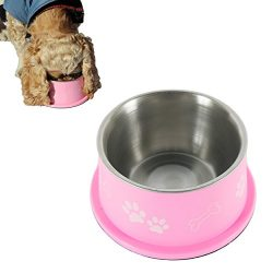 PETISH Spaniel Bowl for Long Ear Dog – Ergonomic Personalized Custom Design Bowls, NO Tip Stainless Dish (Medium (17oz – 6.3 x 5.3 x 3.0inch), Candy Pink)