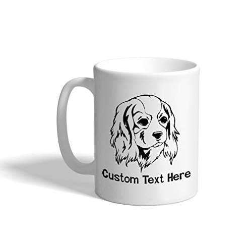 Custom Funny Coffee Mug Coffee Cup Cavalier King Charles Spaniel Head Black White Ceramic Tea Cup 11 OZ Personalized Text Here