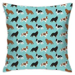 Throw Pillow Case Small – Cavalier King Charles Spaniel Fabric Cute Dog Pet Dogs Blemein Fabric Ruby Cavalier Black and Tan Dog Cute Dog Coat Dog Breed Fabric_567 Cushion Covers for Chair, 18×1