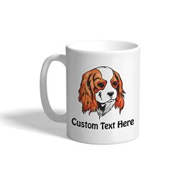 Custom Funny Coffee Mug Coffee Cup Cavalier King Charles Spaniel Head White Ceramic Tea Cup 11 OZ Personalized Text Here