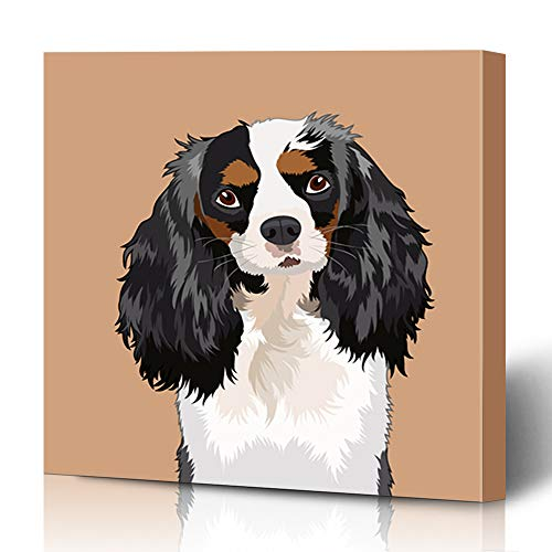 Ahawoso Canvas Prints Wall Art 12×12 Inches Curly Cavalier King Charles Spaniel Canine Buddy Dog Abstract Pet Salon Child Decor for Living Room Office Bedroom