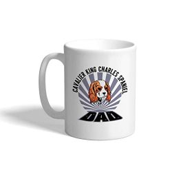 Custom Funny Coffee Mug Coffee Cup Dad Cavalier King Charles Spaniel Dog White Ceramic Tea Cup 11 OZ Design Only