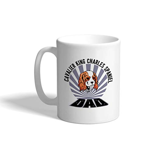 Custom Funny Coffee Mug Coffee Cup Dad Cavalier King Charles Spaniel Dog White Ceramic Tea Cup 11 OZ Design Only