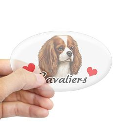 CafePress Love Cavaliers Oval Bumper Sticker, Euro Oval Car Decal