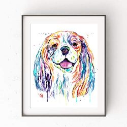 Cavalier King Charles Spaniel Wall Art by Whitehouse Art | Dog Memorial Gifts, Dog Decor, Dog Poster| Professional Art Print of Cavalier Original Watercolor | Dog Mom | 6 Sizes
