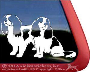 Pair of Sitting Cavaliers   Dog Vinyl Window Decal Sticker