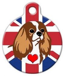 Dog Tag Art Cavalier King Charles Spaniel (Blenheim) Pet ID Tag for Dogs and Cats Large Size