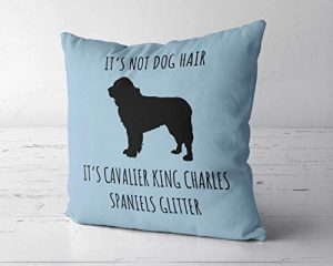 Jeartyca Its Not Dog Hair Its Cavalier King Charles Spaniel Glitter Pillow Case, Cavalier Dog Decor, 18 x 18 Pillow Cover, Cavalier King Lover Gift, Cavalier King Mom Gift