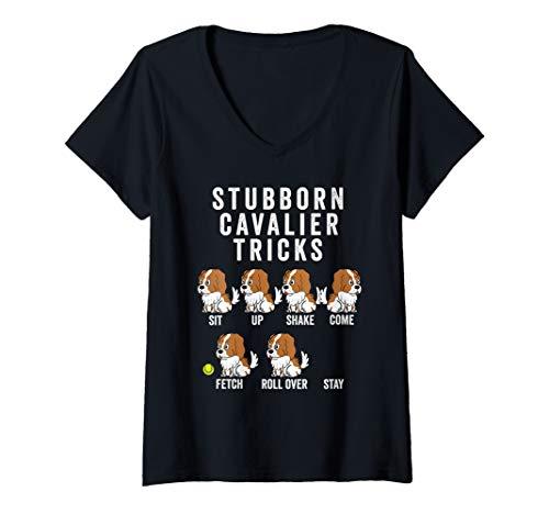 Womens Stubborn Cavalier King Charles Spaniel Tricks Gift  V-Neck T-Shirt