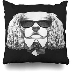 Decorative Throw Pillow Cover Cushion Case Head Baby Cavalier King Charles Spaniel Suit Dog Black Bow Collar Design Shopping Home Decor Pillowcase Square Size 18″ x 18″