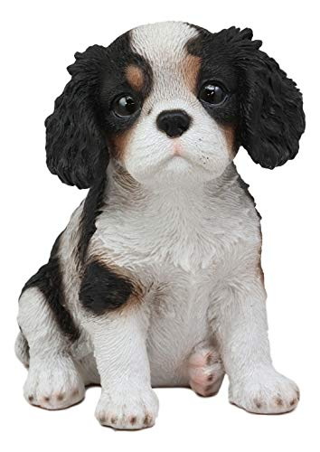 Ebros Adorable Cavalier King Charles Spaniel Dog Breed Statue 5.75″ Long Pet Pal Puppy Dogs Collectible Decor Figurine with Glass Eyes Lifelike Sculpture