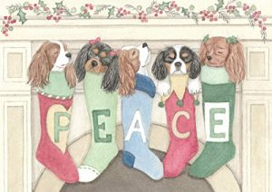 Christmas Cards: King Charles Cavalier Spaniels Hung Chimney Care/Lynch Folk Art
