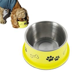 PETISH Spaniel Bowl for Long Ear Dog – Ergonomic Personalized Custom Design Bowls, NO Tip Stainless Dish (Medium (17oz – 6.3 x 5.3 x 3.0inch), Banana Yellow)